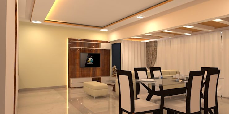 Amanora Park Pune - Pent House:  Living room by DECOR DREAMS