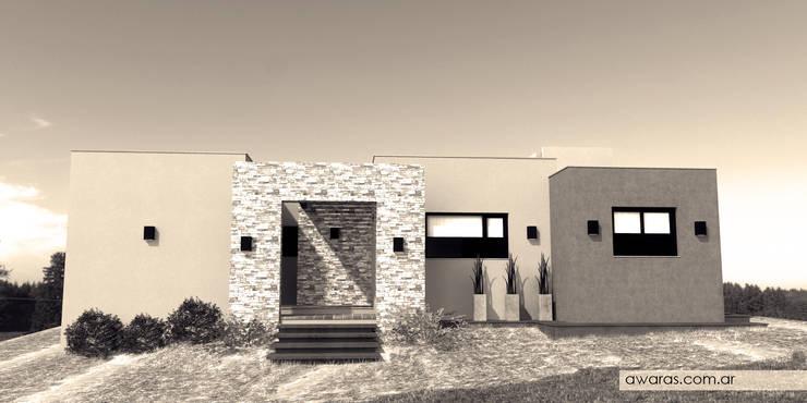 CASA CG | fachada norte: Casas unifamiliares de estilo  por áwaras arquitectos,
