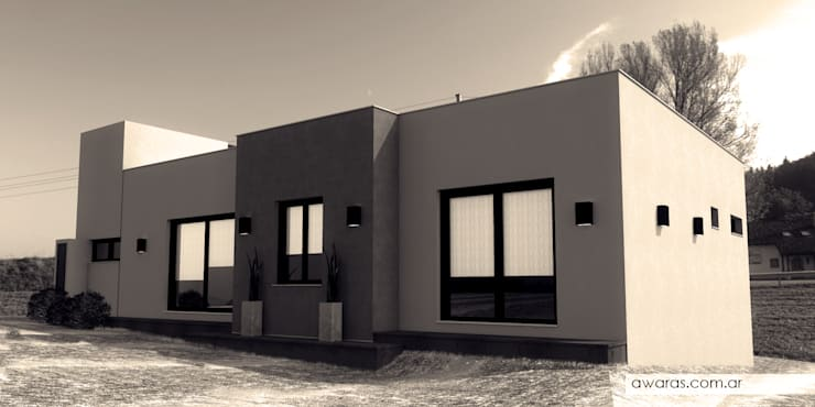 CASA CG | fachada sur: Casas de estilo  por áwaras arquitectos,