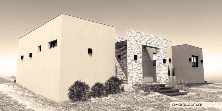 CASA CG | fachada norte este: Casas de estilo  por áwaras arquitectos,