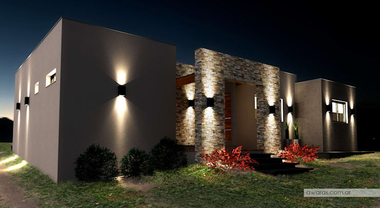 CASA CG | detalle de acceso | vista nocturna: Casas de estilo  por áwaras arquitectos,