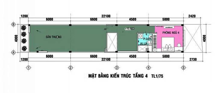 Bản vẽ thiết kế mặt bằng nhà ống 4 tầng:  Nhà gia đình by Công ty TNHH Xây Dựng TM – DV Song Phát