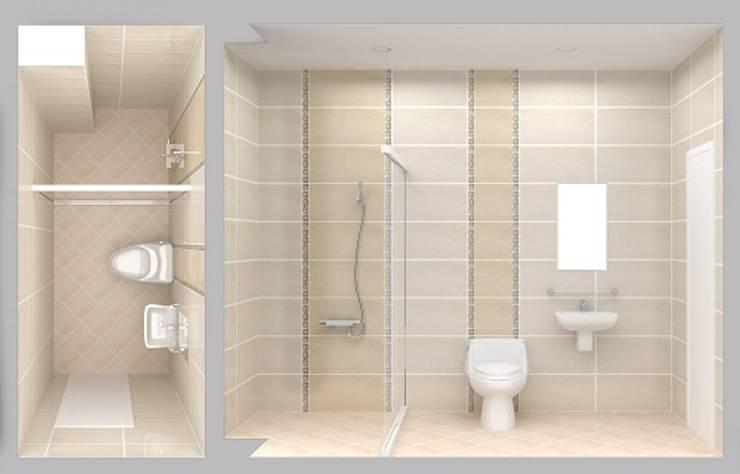 Thiết Kế Nhà Ống 2 Tầng 50m2 Với Chi Phí Tiết Kiệm 500 Triệu:  Phòng tắm by Công ty TNHH Xây Dựng TM – DV Song Phát