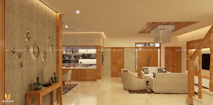 CONTEMPORARY INTERIORS BUNGALOW -RESIDENCE-VILLA INTERIOR-DINING AND LIVING :   by UNISPACE INTERIOR