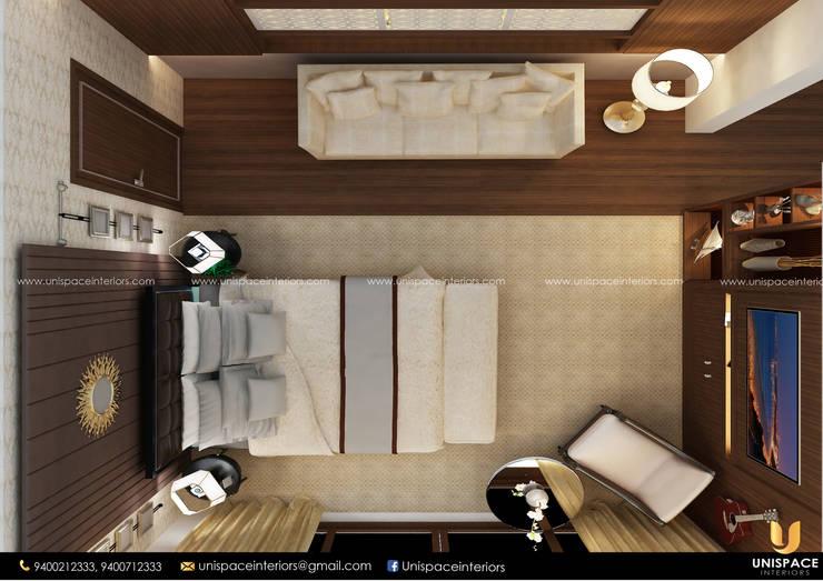 CONTEMPORARY INTERIORS BUNGALOW -RESIDENCE-VILLA INTERIOR-BEDROOM WALK IN WARDROBE:   by UNISPACE INTERIOR