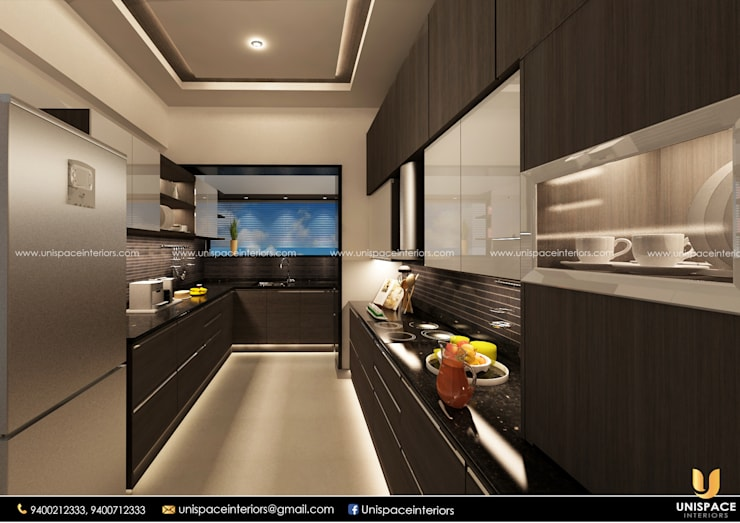 APARTMENT -FLAT INTERIOR -CONTEMPORORY -KITCHEN-MODULAR KITCHENS:   by UNISPACE INTERIOR