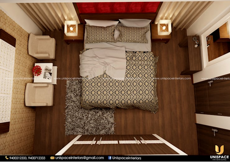 CONTEMPORARY INTERIORS BUNGALOW -RESIDENCE-VILLA INTERIOR-BEDROOM :   by UNISPACE INTERIOR