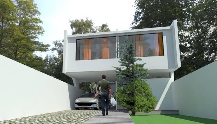 fachada : Casas ecológicas de estilo  por Adrián Rubiales Arquitecto,Moderno Ladrillos