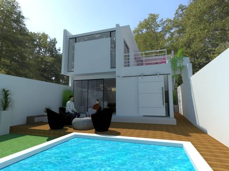 vista patio: Casas unifamiliares de estilo  por Adrián Rubiales Arquitecto,Moderno Ladrillos