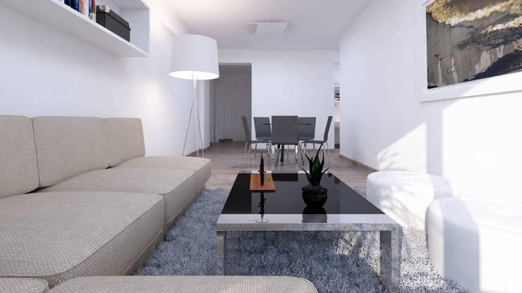 Distribución de Sala Comedor: Salas / recibidores de estilo  por Estudio Allan Cornejo Arquitecto