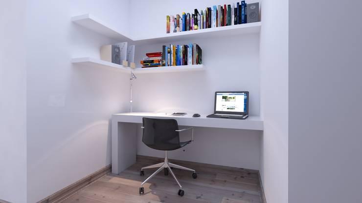 Área de escritorio: Pasillos y vestíbulos de estilo  por Estudio Allan Cornejo Arquitecto