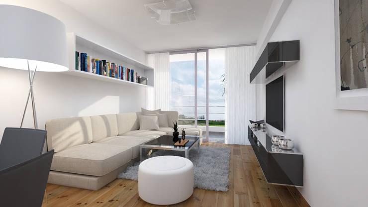 Distribución de Sala: Salas / recibidores de estilo  por Estudio Allan Cornejo Arquitecto