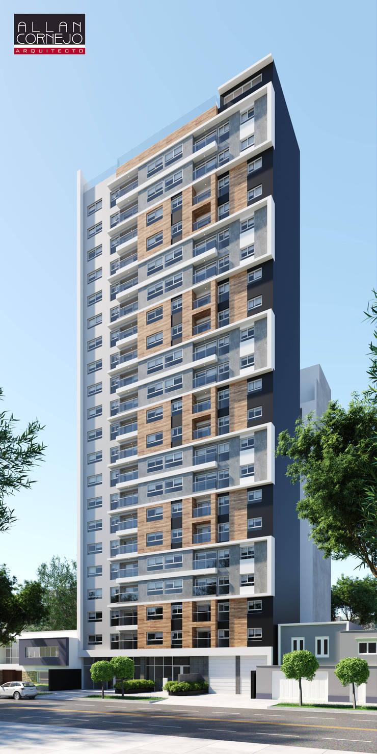 Fachada 3D: Casas multifamiliares de estilo  por Estudio Allan Cornejo Arquitecto