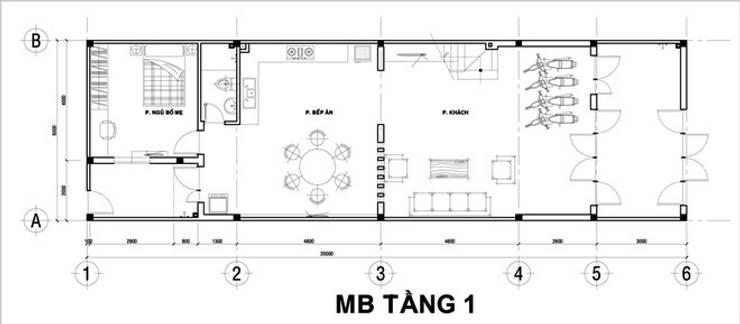 Bản vẽ mặt bằng tầng 1 nhà phố 2 tầng 6x20m.:  Nhà gia đình by Công ty TNHH Thiết Kế Xây Dựng Song Phát