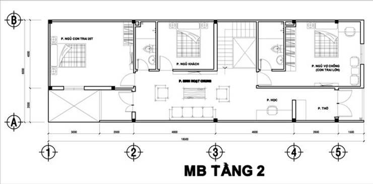 Bản vẽ mặt bằng tầng 2 nhà phố 2 tầng 6x20m.:  Nhà gia đình by Công ty TNHH Thiết Kế Xây Dựng Song Phát