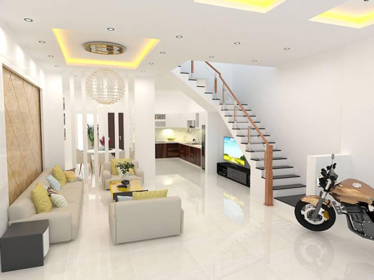 Phòng khách phong thái đơn giản, tận dụng tối đa không gian sử dụng.:  Phòng khách by Công ty TNHH Thiết Kế Xây Dựng Song Phát