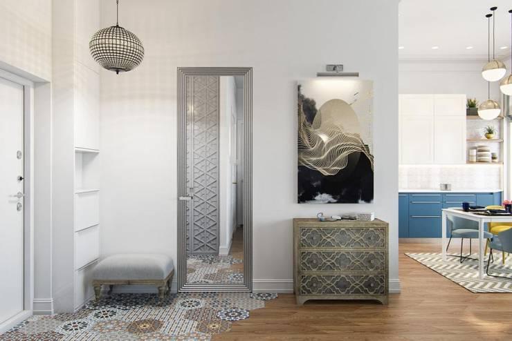 Зеркало-дверь: Коридор и прихожая в . Автор – Дизайн студия Алёны Чекалиной