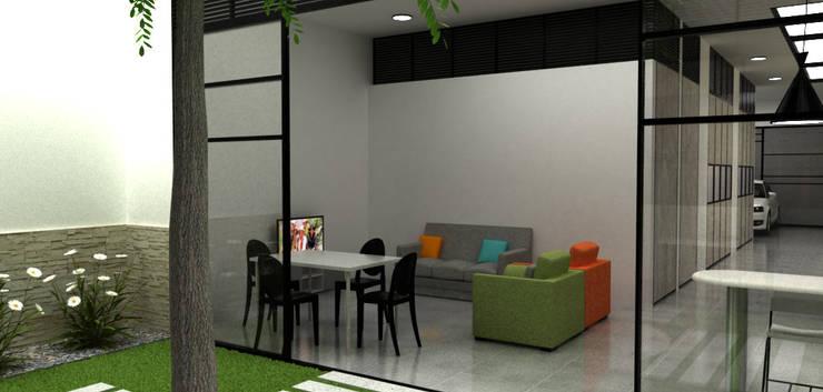 Casa Medianera : Salas de estilo  por Elizabeth SJ