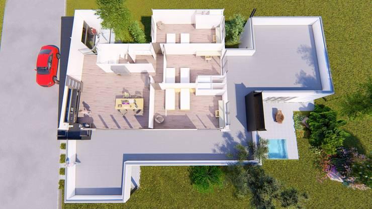 Planta Alta 3d: Dormitorios de estilo  por Sinapsis Estudio,