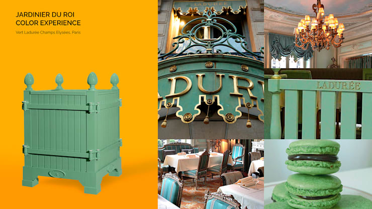 Jardinier du Roi, Green Laduree planter box inspired by Laduree colors, Paris France:  Garden  by Jardinier du Roi