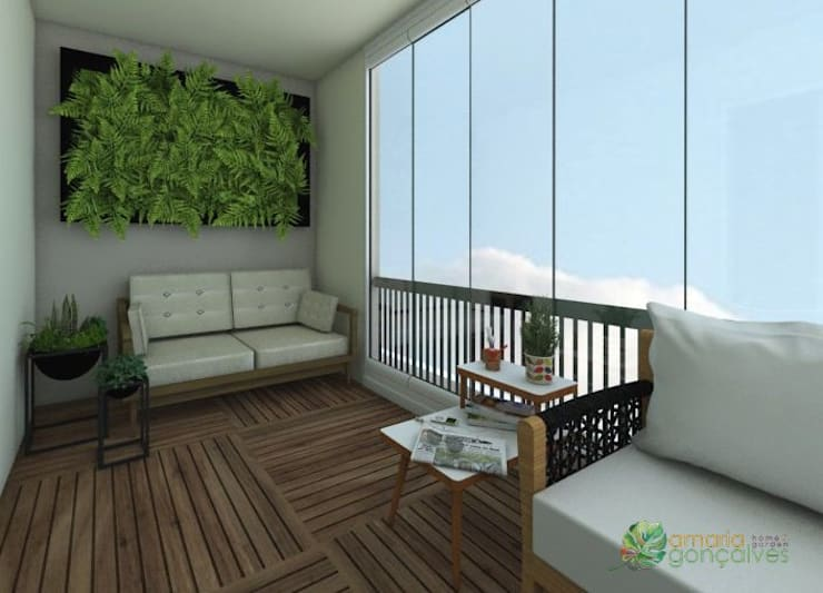 Sacada Higienópolis: Terraços  por Amaria Gonçalves - Design Paisagismo