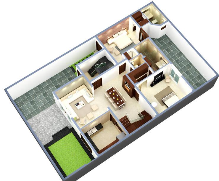 Suneja Residence Interior Design:  Floors by Rhomboid Designs