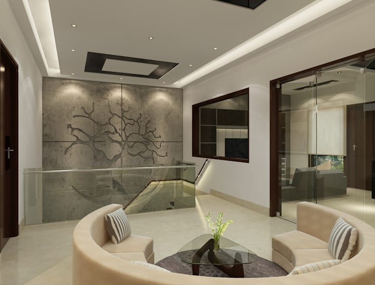 Suneja Residence Interior Design:  Corridor & hallway by Rhomboid Designs