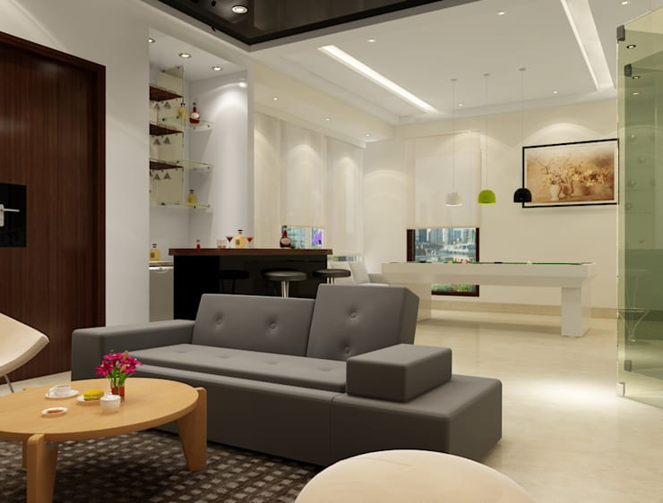 Suneja Residence Interior Design: modern Media room by Rhomboid Designs