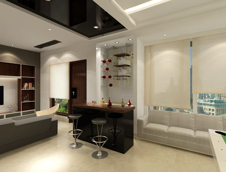 Suneja Residence Interior Design: modern Living room by Rhomboid Designs