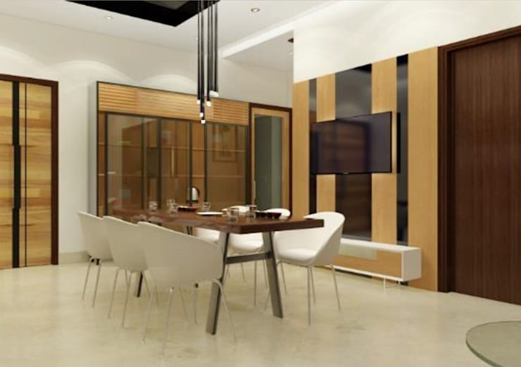 Suneja Residence Interior Design: modern Dining room by Rhomboid Designs