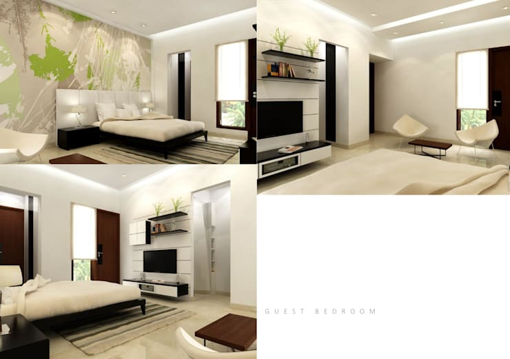 Suneja Residence Interior Design: modern Bedroom by Rhomboid Designs