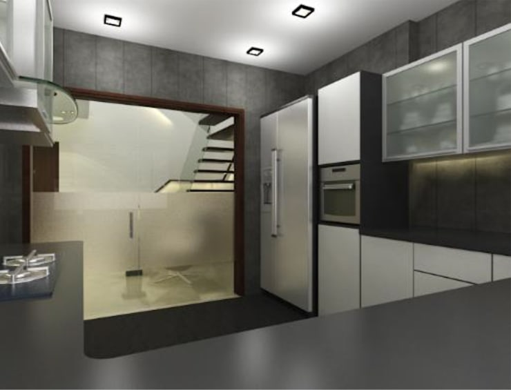 Suneja Residence Interior Design: modern Kitchen by Rhomboid Designs