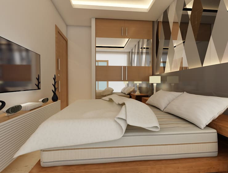 Bihani Residence and Interiors:  Bedroom by Rhomboid Designs,Modern Glass