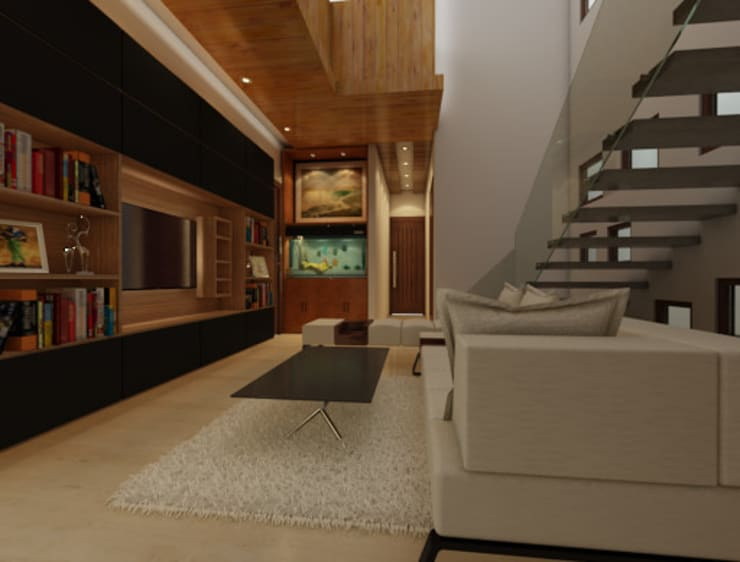 Bihani Residence and Interiors:  Media room by Rhomboid Designs,Modern