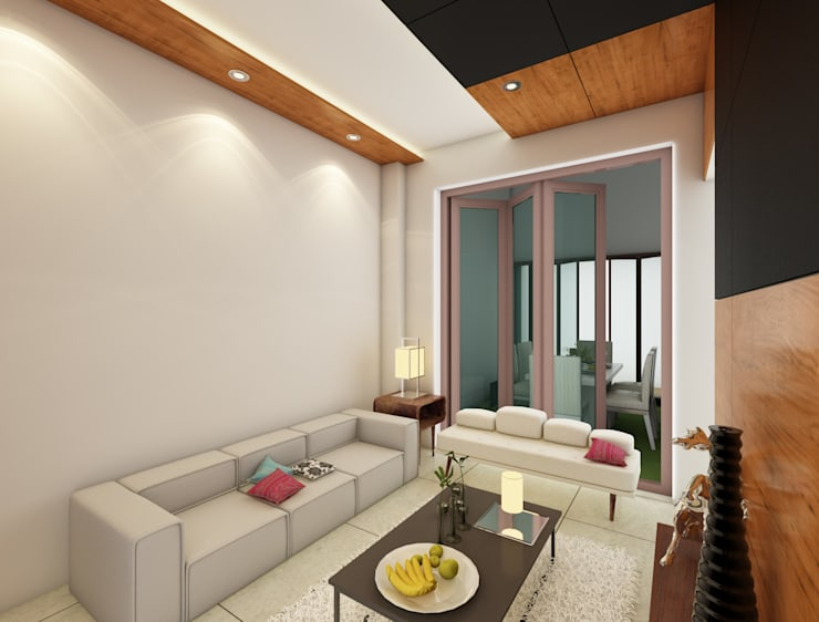 Bihani Residence and Interiors:  Living room by Rhomboid Designs,Modern