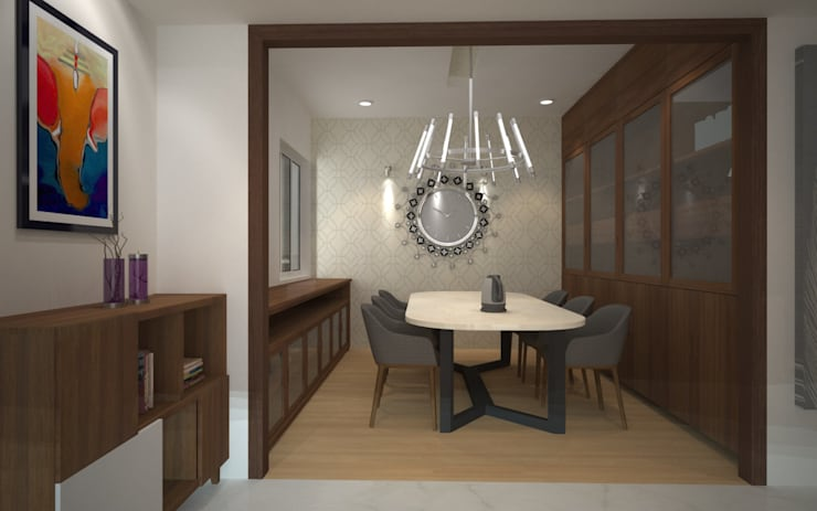 Sodhi Residence:  Dining room by Rhomboid Designs