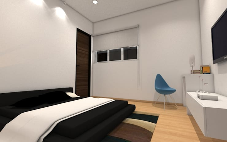 Guest Bedroom:  Bedroom by Rhomboid Designs