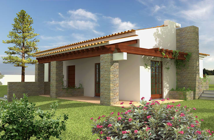 Casas campestres de estilo  por Pedro de Almeida Carvalho, Arquitecto, Lda