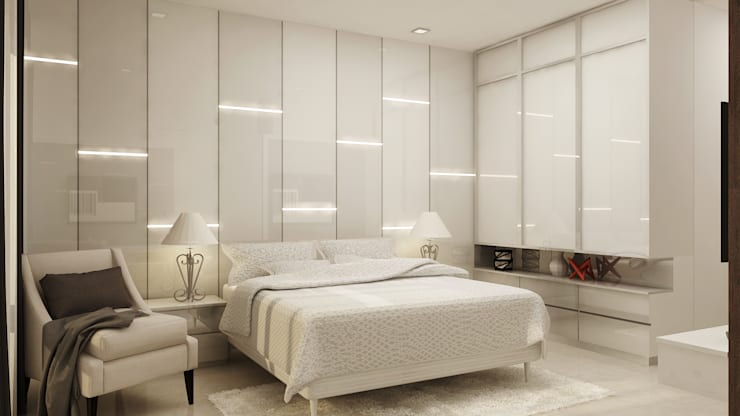 Interior Design of Mr Saravanan - Tulive - ECR - Appartment :  Bedroom by Aurazia Design Studio