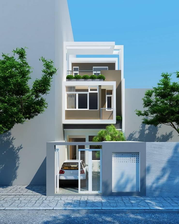 Mặt tiền nhà phố 3 tầng 5x20m:  Nhà gia đình by Công ty TNHH Thiết Kế Xây Dựng Song Phát