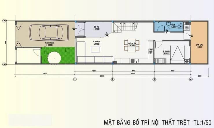 Bản vẽ mặt bằng tầng 1 nhà phố 3 tầng:  Nhà gia đình by Công ty TNHH Thiết Kế Xây Dựng Song Phát