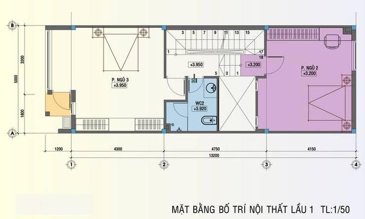Bản vẽ mặt bằng tầng 2 nhà phố 5x20m.:  Nhà by Công ty TNHH Thiết Kế Xây Dựng Song Phát