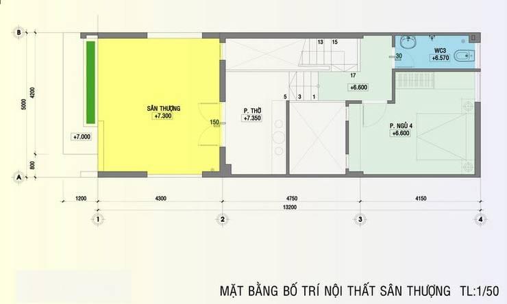 Bản vẽ mặt bằng tầng 3 nhà phố 5x20m.:  Nhà by Công ty TNHH Thiết Kế Xây Dựng Song Phát