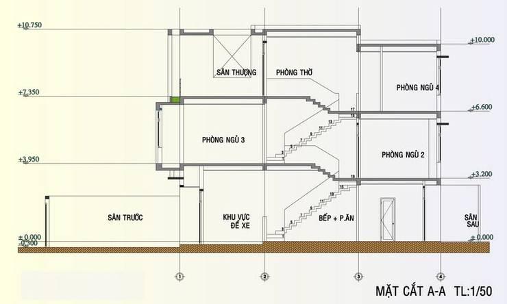 Bản vẽ mặt đứng ngôi nhà phố 3 tầng.:  Nhà gia đình by Công ty TNHH Thiết Kế Xây Dựng Song Phát