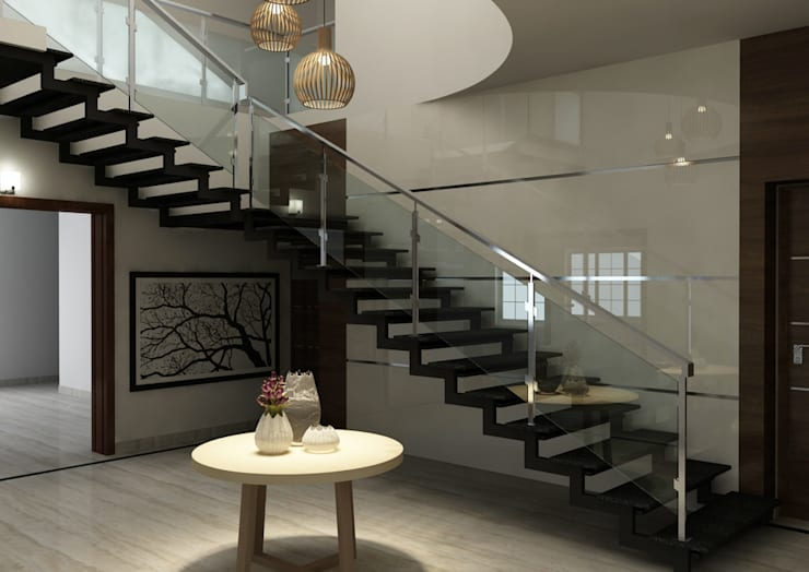 Shobha's Residence,Panaiyur:  Stairs by M/s Studio7 Architects