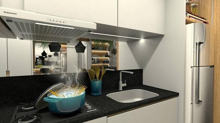 COZINHA: Armários e bancadas de cozinha  por Letícia Saldanha Arquitetura