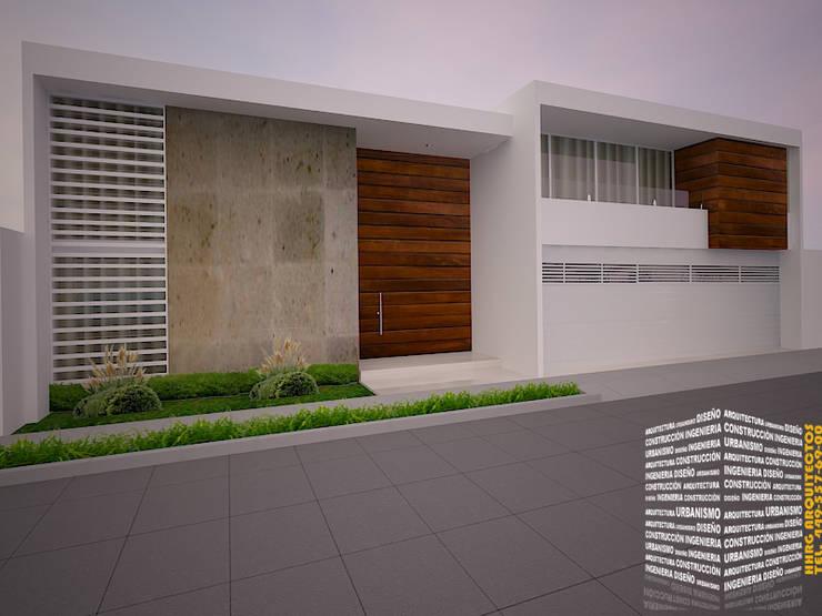 FACHADA CON CANTERA: Casas de estilo  por HHRG ARQUITECTOS
