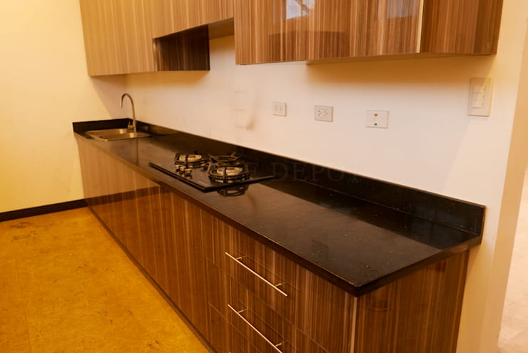 Black Galaxy Granite Office Pantry Countertop in Mandaue City:  Kitchen by Stone Depot