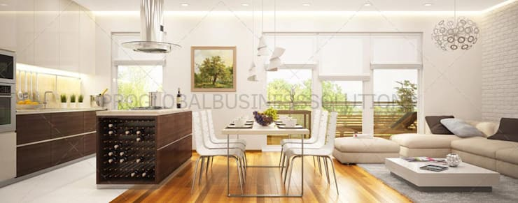 3D Architectural Rendering Services:  Dining room by Proglobalbusinesssolutions