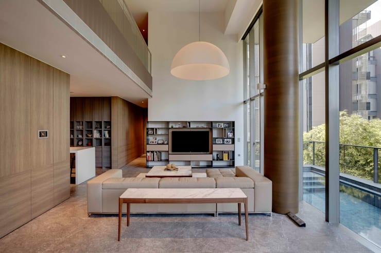 Lofty Ideals Apartment at Leedon Residence:  Living room by Lim Ai Tiong (LATO) Architects